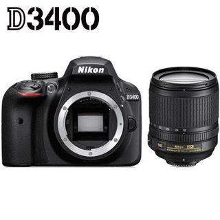 NIKON D3400 + 18-105 VR -Cashback 50€ + 4x čistenie čipu + poukaz na fotokurz zadarmo !