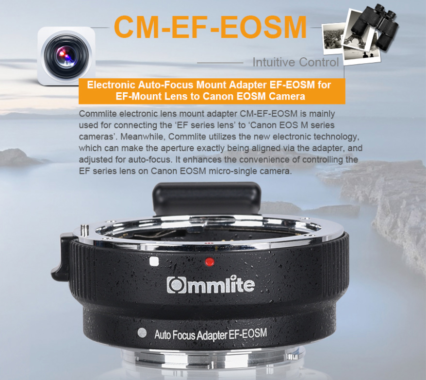 Commlite adapter Canon EF/ EF-S a Canon EOSM