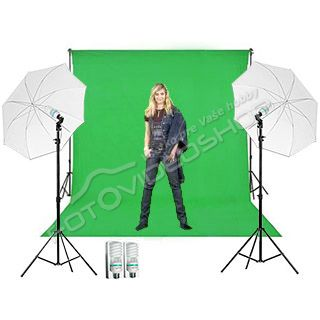 Green Screen Studio Set 2,7 x 5 m (2x svetlá Daylight)